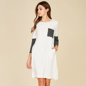 Dresses & Skirts - PLUS--3/4 Sleeve Contrast Stripe Dress